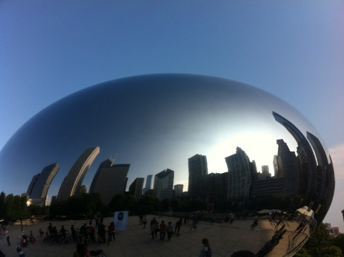 Cloud Gate with Chicago Skyline